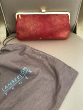Lambertson Truex Fur/Leather Metallic Clutch & LT Dust Cover Christmas Red !!NEW