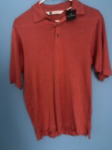 Bachrach 100% Silk Short Sleeve Polo Shirt Size Small NWT