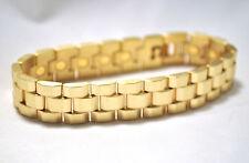 HANDSOME MENS 8.5 IN. GOLD WATCHBAND HEALING MAGNETIC LINK BRACELET: HELPS PAIN!