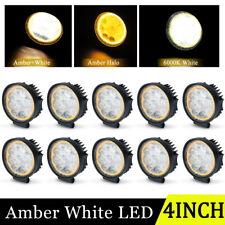 10X Round LED Work Light Pods 4'' 45W Flood Offroad Driving Fog Lamp Amber White