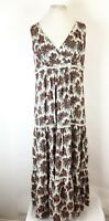 M&S Floral Prairie Empire Line Tiered Floaty Swing Maxi Long Dress UK 14