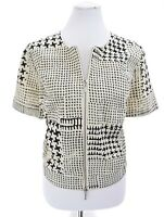 Cabi Womens Houndstooth Zip Up Bomber Jacket Short Sleeve Black Sz Medium