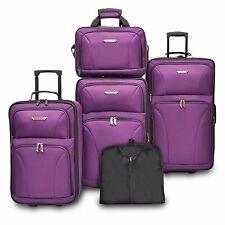 Traveler Choice Versatile 5pc Purple Expand Luggage Tote Suitcase Travel Bag Set
