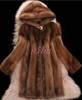 Women Mink Fur Long Coat Hooded Overcoat Jacket Winter Warm Outwear