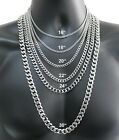 """Stainless Steel Cuban Curb Chain Silver 16""""-30"""" Men Choker Necklace 3/5/7/9/11mm"""