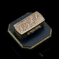 Antique Vintage Georgian Sterling 800 Silver Italy GUIDO RENI Pillbox Snuff Box