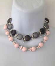 2 1950's LISNER Thermoset Pink/Grey Beads Flower Silver Tone Choker Necklaces