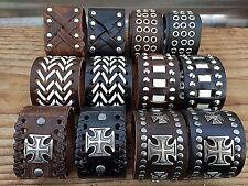 Punk Cool Mens Wide Genuine Leather Belt Bracelet Cuff Wristband Bangle
