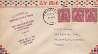 U.S. Airmail 1930 Comm. First Transcontinental Flight Slogan Stamps Cover  48483