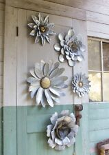 5 Galvanized Metal Flower Wall Art Sculptures Indoor Outdoor Decor ~ Set Of 5