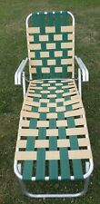 Vintage Aluminum Webbed Folding Beach Lawn Chair Chaise Lounge Yellow Green