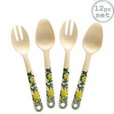 12pc Eco-Friendly Bamboo Salad Servers Set Picnic Fork Spoon Cutlery Tropical