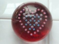 Baccarat France Wine Red Millefiori Heart Paperweight EC Signed
