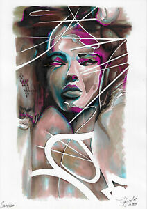 original drawing A4 61PIr art samovar modern Mixed Media woman Signed 2021