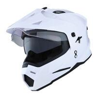 Dual Sport Dual Visor Motorcycle Motocross Full Face Helmet GlossyWhite
