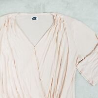 Old Navy Pink Blouse Surplice V-Neck Top 3/4 Sleeve Rayon Womens XL SOFT!