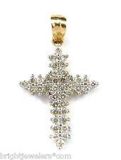 Attractive Ladies 14k Yellow Gold 1/2 Carat Diamonds Cross Pendant