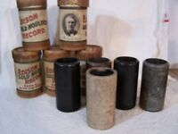 Lot of 5 Antique EDISON Gold Echo & Columbia Phonograph Cylinder Wax Records (d)
