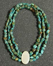 Vintage Three-Strand Carico Lake Turquoise Necklace w/ Mother of Pearl Pendant