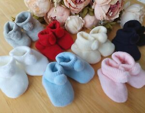 Pom Pom Knitted Baby Boy Girl Unisex Booties Navy White Blue Pink Cream Grey Red
