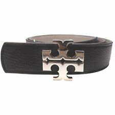 "Tory Burch 1.5"" Black and Gray Reversible Logo Belt"