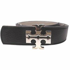 "Tory Burch 1.5"" Black and Gray Reversible Logo Belt"