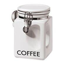 Oggi EZ Grip Coffee Canister, WHITE Airtight Locking Clamps Labeled Modern Fresh