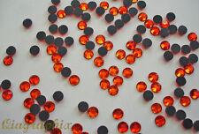 2 x 1440 Pcs  Iron On Hotfix Crystal Orange-Red Rhinestones SS16, Grade A, GA16N