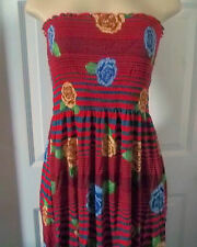 FLORAL STRIPE RED ROSES SUMMER ELASTIC DRESS MAXI LONG STRAPLESS LARGE