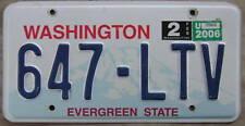 2006 WASHINGTON LICENSE PLATE # 647-LTV