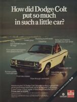 1975 Dodge Colt Mitsubishi Vintage Advertisement Ad
