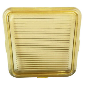 """Vintage Federal Glass Ribbed Yellow Refrigerator Box LID ONLY Square 8.5"""" CHIP"""