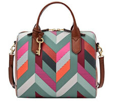 NWT FOSSIL FIONA GEOMETRIC CHEVRON STRUCTURED SATCHEL