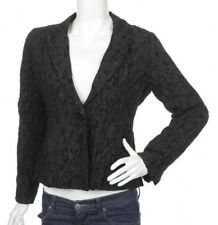 Eileen Fisher Womens Blazer Jacket Black Silk Blend Size M Petite Floral