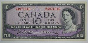 1954 BANK OF CANADA TEN DOLLARS BC-40b H/T 4971016 BEATTIE RASMINSKY NOTE