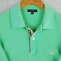 BURBERRY LONDON Size Large Mint Green 100% Cotton Nova Check Mens Polo Shirt