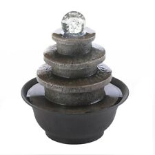 4-Tier Round Tabletop Fountain w/ LED Lighted Glass Orb Electrical