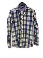 Polo Ralph Lauren Mens Shirt Long Sleeve Blue Check Size S (D327)