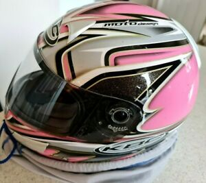 KBC Moto XS Motorcycle Helmet Full Face Extra Small 53 54 Pink Silver Metallic