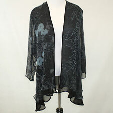 NEW NWT Citron Clothing Black & Teal Floral Sheer Layered Cardigan Blouse 2X