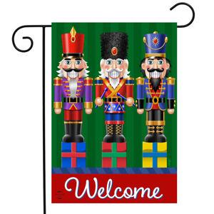 "Holiday Nutcrackers Welcome Garden Flag Christmas 12.5"" x 18"" Briarwood Lane"