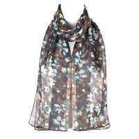 Chiffon Satin Ladies Womens Flower Design Scarf Shawl Wrap