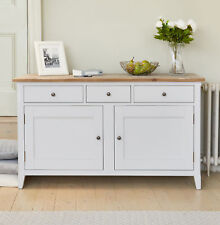 Signature Painted Grey Limed Oak Top Large Sideboard with Drawers and Storage