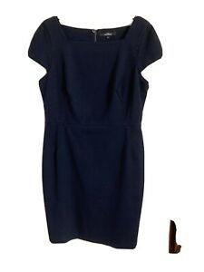 Next Tailoring Size 14 Navy Fitted Dress -(C66)