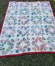 "UNUSUAL Well Quilted 30's Art Antique Quilt Feed Sacks 66""×52"""