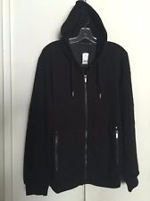 WILLIIAM RAST MENS BLACK FRENCH TERRY FAUX LEATHER TRIM ZIP FRONT HOODIE SIZE XL