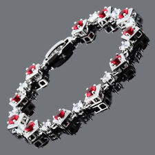 Xmas Round Cut Red Ruby 18K White Gold Plated Cubic Zirconia Tennis Bracelet
