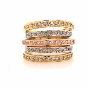 Tri-Color 5-Row Diamond Band in 18K Gold