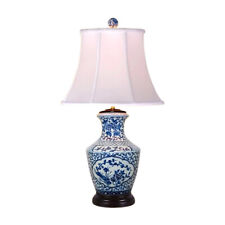 """Chinese Blue and White Porcelain Vase Floral Motif Table Lamp 32"""""""