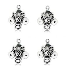 Gas Mask Charms Tibetan Silver Pendant Pack of 4